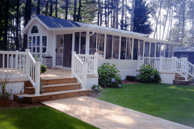 Mobile Home Raised Wooden Deck