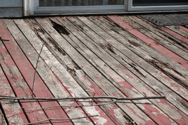 Mobile Home Rotting Wooden Deck