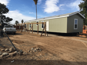 Single-Wide Manufactured Home During Setup